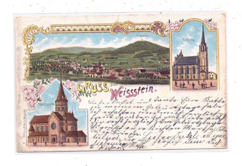NIEDER-SCHLESIEN - WALDENBURG-WEISSTEIN / WALBRZYCH, Lithographie, Kath. Kirche, Ev. Kirche, kl. Einriss