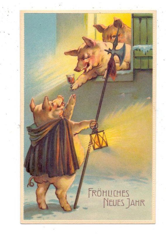 TIERE - SCHWEINE / Pics / Porcs / Varkens / Maiali / Cerdos, Nachtwächterschwein und Feiernde, Präge-AK, embossed,relief