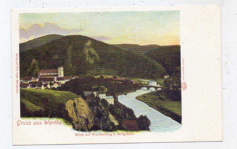 NIEDER-SCHLESIEN - WARTHA / BARDO, Gruss aus..., Warthaberg und Bergsturz, ca. 1905