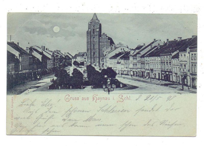 NIEDER-SCHLESIEN - HAYNAU / CHOJNOW, Gruss aus..., 1898, Mondschein-Karte