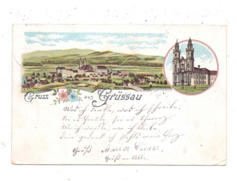 NIEDER-SCHLESIEN - GRÜSSAU / KRZESZOW, Lithographie 1901, Kirche, Gesamtansicht