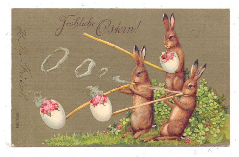 OSTERN - Eier rauchende Hasen, Präge-Karte, embossed, relief, 1909