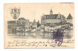 WESTPREUSSEN - MARIENBURG / MALBORK, Marienburg Westseite, Wappen, Relief-Karte, 1903