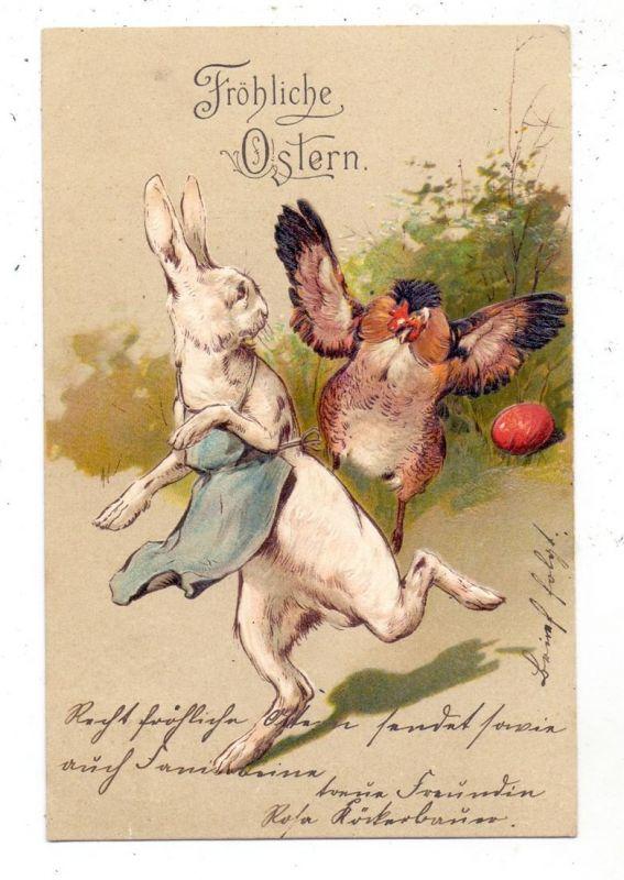 OSTERN - Weisser Hase wird von Huhn verjagt, 1906, Präge-Karte, embossed, relief