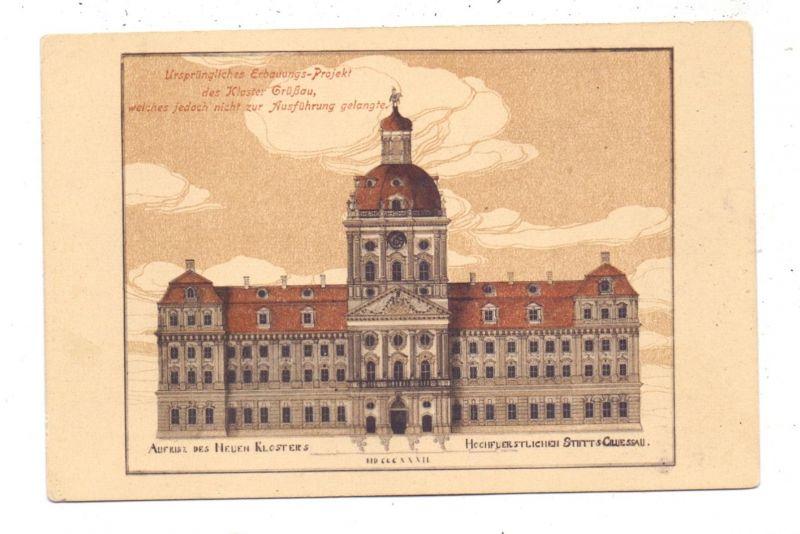 NIEDER-SCHLESIEN - GRÜSSAU / KRZESZOW, Ursprüngliches Erbauungs-Projekt, Architekten-Zeichnung