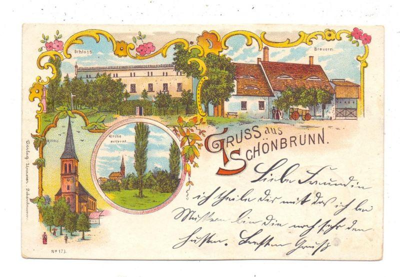 NIEDER-SCHLESIEN - SCHÖNBRUNN / STRUZYNA, Kreis Strehlen, Lithographie, Bier-Brauerei, Schloss, Kirche, Bahnpost