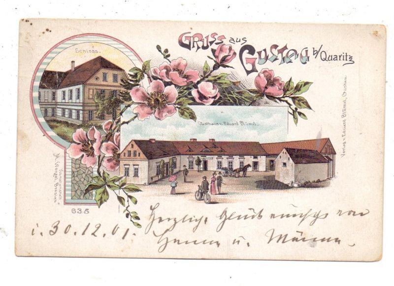 NIEDER-SCHLESIEN - QUARITZ-GUSTAU / GAWORZYCE-GOSTYN, Lithographie, Schloss, Gasthaus, Brfm. entfernt