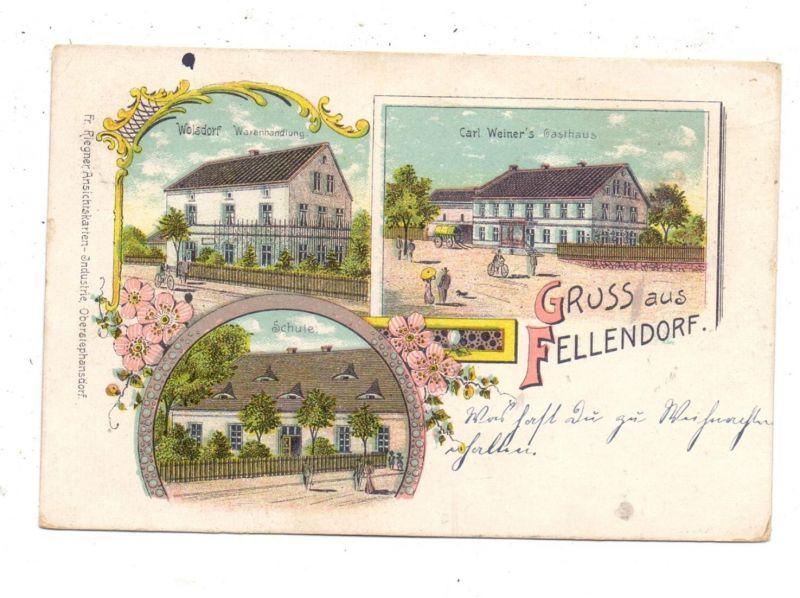 NIEDER-SCHLESIEN - FELLENDORF / GNIEWOMIROWICE, Lithographie, Gasthaus, Warenhandlung, Schule