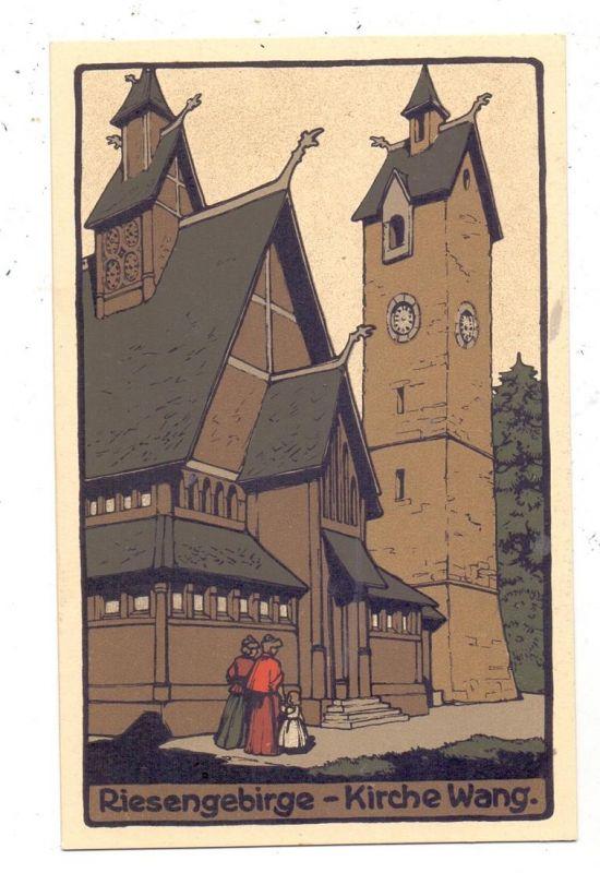 NIEDER-SCHLESIEN - KRUMMHÜBEL / KARPACZ, Kirche Wang, Steindruck