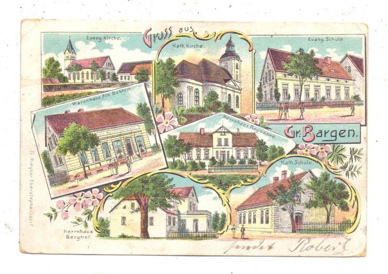 NIEDER-SCHLESIEN - GROSS BARGEN / BARKOWO, Lithographie, Waarenhandlung, Herrenhäuser, Kirchen, Schule..