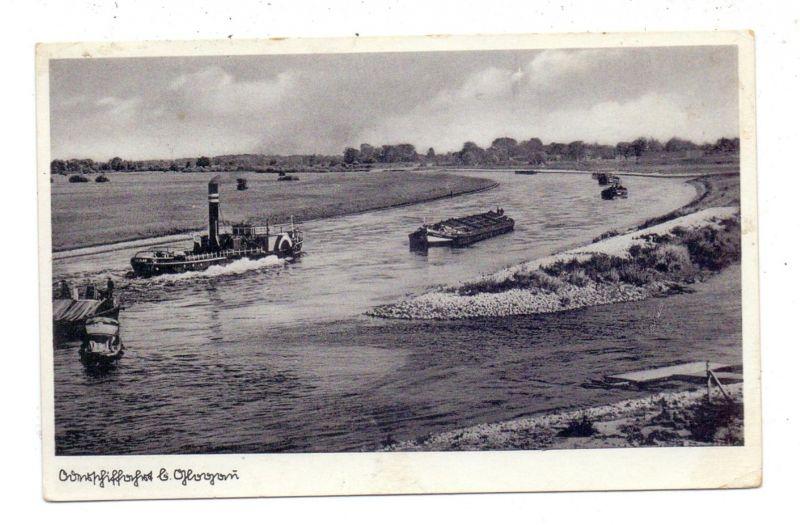 NIEDER-SCHLESIEN - GLOGAU / GLOGOW, Oderschiffahrt bei Glogau, Binnenschiffe, 1940, Militärpost