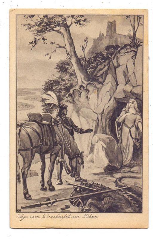 5330 KÖNIGSWINTER, Sage vom Drachenfels am Rhein, Künstler-Karte