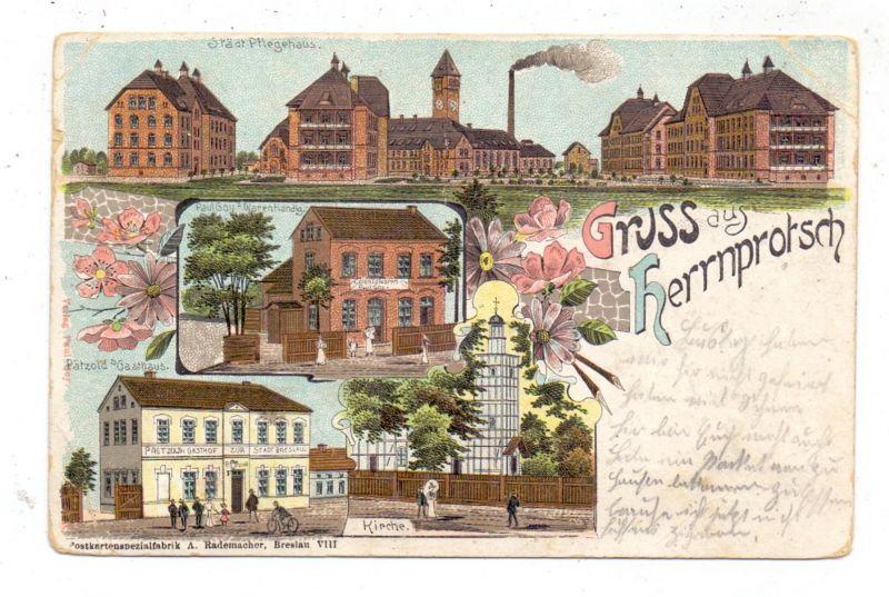 NIEDER-SCHLESIEN - BRESLAU-HERRNPROTSCH / WROCLAW, Lithographie, Pätzold's Gasthaus, Colonialwaren Goy, Pflegehaus...