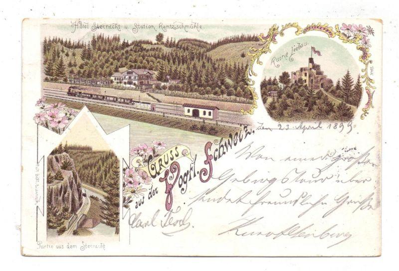 0-9903 PÖHL - RENTZSCHMÜHLE, Lithographie 1899, Bahnhof Rentzschmühle, Ruine Liebau, Partie aus dem Steinicht