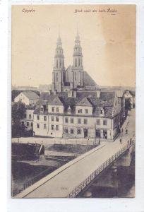 OBER-SCHLESIEN - OPPELN / OPOLE, Blick nach der kath. Kirche, 1920, Oberschlesien-Frankatur nach Frankreich