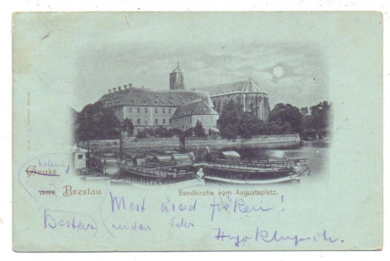 NIEDER - SCHLESIEN - BRESLAU / WROCLAW, Sandkirche vom Augustaplatz, Binnenschiffe, 1898, Mondscheinkarte, kl. Einriss
