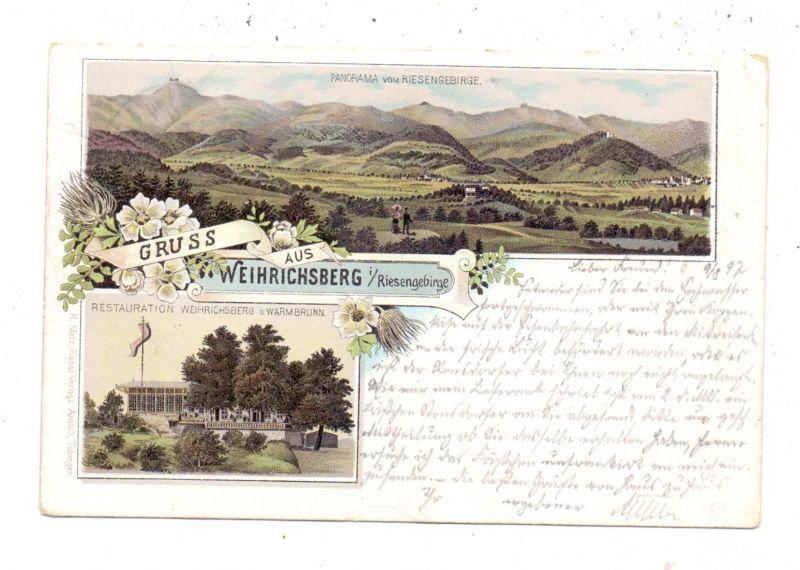 NIEDER - SCHLESIEN - HIRSCHBERG-WARMBRUNN-WEIHRICHSBERG, Lithographie 1897, Restauration