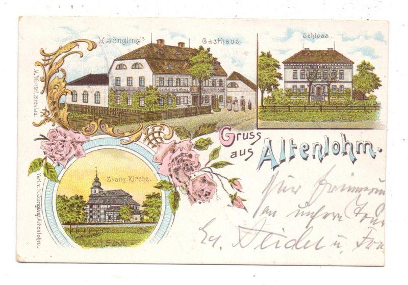 NIEDER - SCHLESIEN - ALTENLOHM / STARY LOM, Krs. Goldberg, Lithographie, Jüngling's Gasthaus, Kirche, Schloss