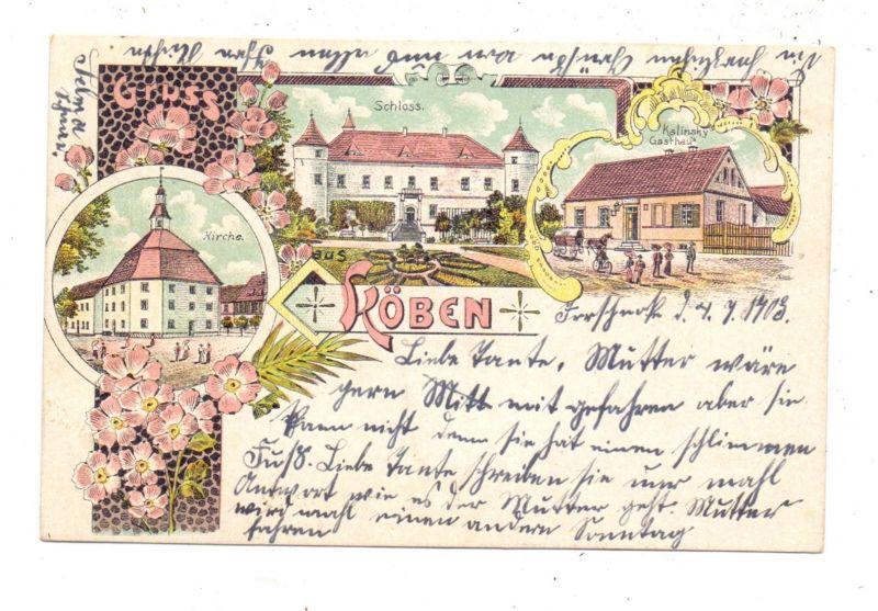 NIEDER - SCHLESIEN - KÖBEN / CHOBIENIA RUDNA, Lithographie, Gasthaus, Schloss, Kirche