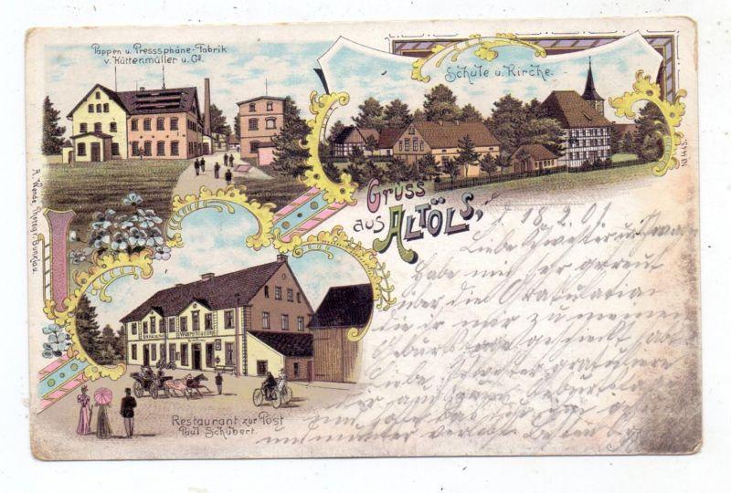 NIEDER - SCHLESIEN - ALT-ÖLS / STARA OLESZNA, Lithographie, Restaurant zur Post, Papier Fabrik, Schule und Kirche