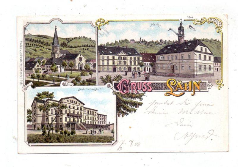 NIEDER - SCHLESIEN - LÄHN / WIEN, Lithographie 1900, Markt mit Gasthaus, Naturheilanstalt, Kirche und Umgebung