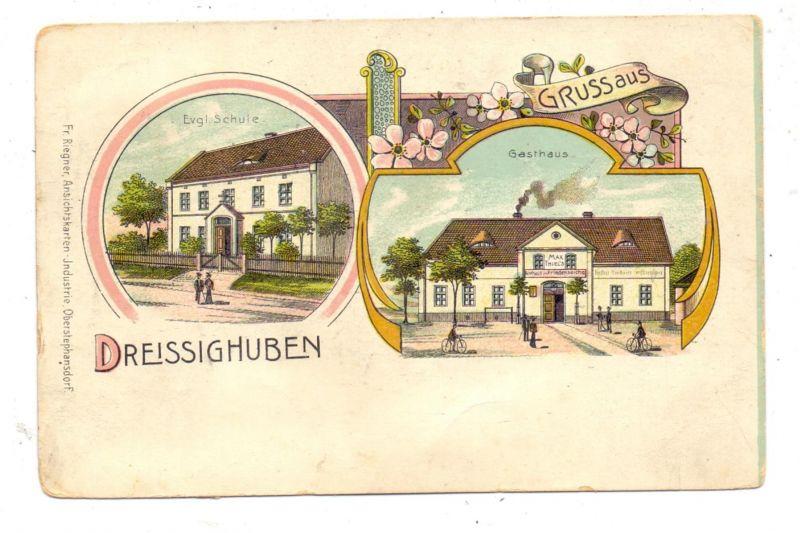 NIEDER - SCHLESIEN - DREISSIGHUBEN / DZIERZONOW, Lithographie, Gasthaus zur Friedenseiche, Evangelische Schule 0