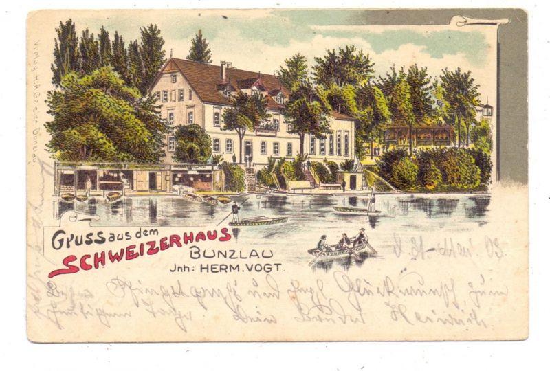 NIEDER - SCHLESIEN - BUNZLAU / BOLESLAWIEC, Lithographie, Gruss aus dem Schweizerhaus