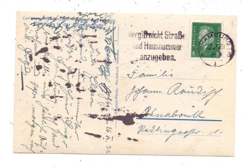 2000 HAMBURG - STELLINGEN Hagenbeck, Zoo, Löwinnen in der Löwenschlucht, 1931, rücks. kl. Klebereste 1