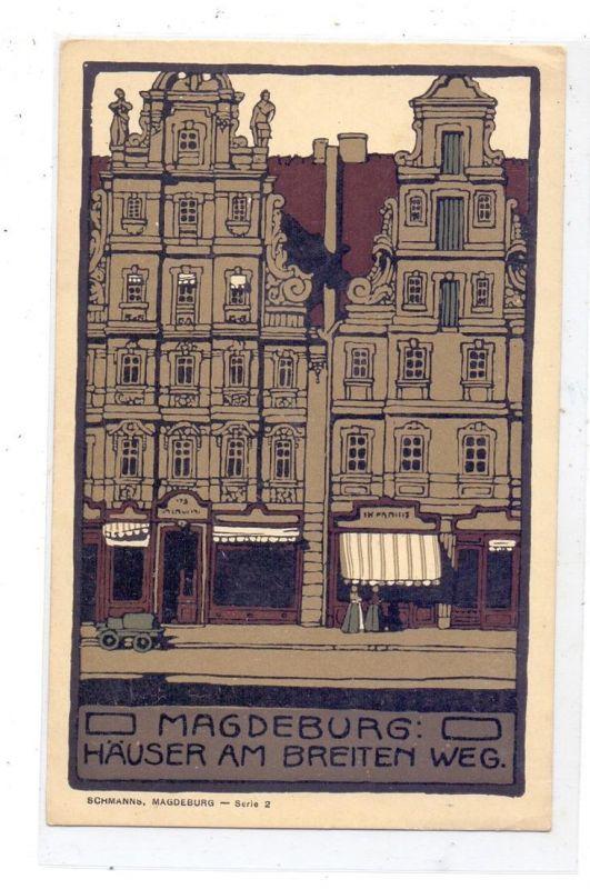 0-3000 MAGDEBURG, Häuser am Breiten Weg, Steindruck 0