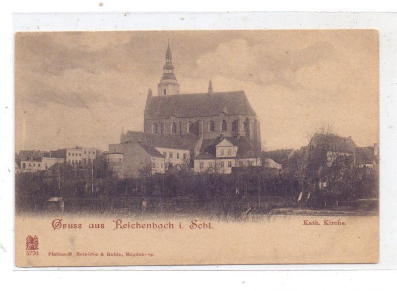 NIEDER - SCHLESIEN - REICHENBACH / DZIERZONIOW, Gruss aus.., kath. Kirche, ca. 1905 0