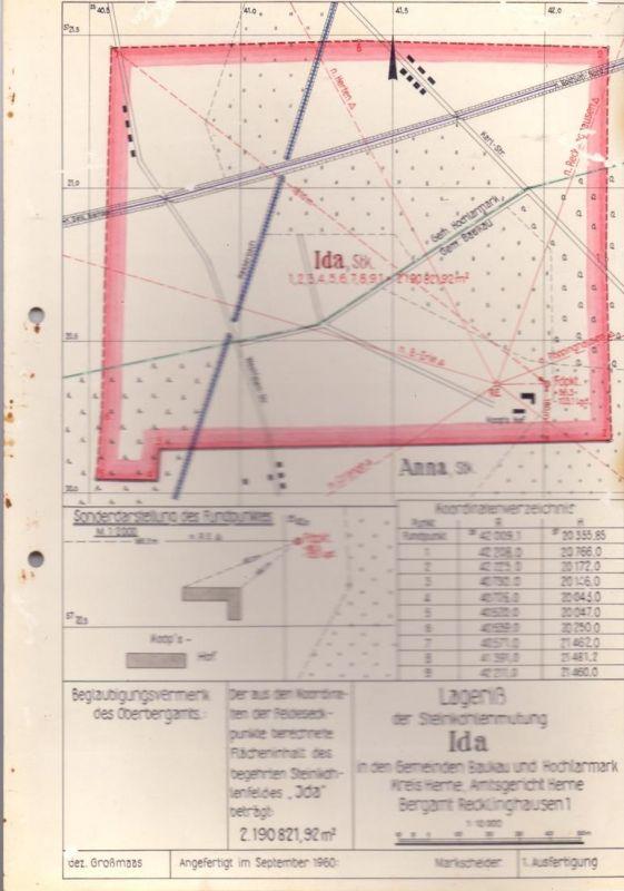 4690 HERNE - BAUKAU, Bergbau, Lageriß der Steinkohlenmutung IDA, 1960, 29,5 x 21 cm, kl, Oberflächenmängel 0
