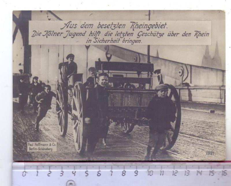 5000 KÖLN, EREIGNIS, Rheinlandbesetzung, Kölner Jugend bringt die letzten Geschütze über den Rhein, 17,2 x 12,2 cm