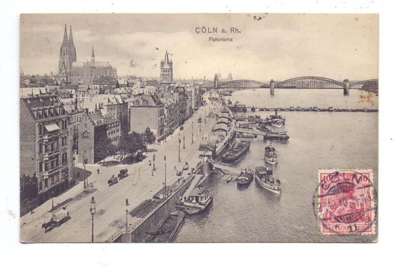 5000 KÖLN, Rheinufer, 1910, Anleger Köln-Düsseldorfer, Binnenschiffe, Verlag: Trenkler
