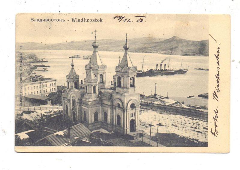 RU 690000 WLADIWOSTOK, Kirche und Hafen, 1906, TPO, Bahnpost