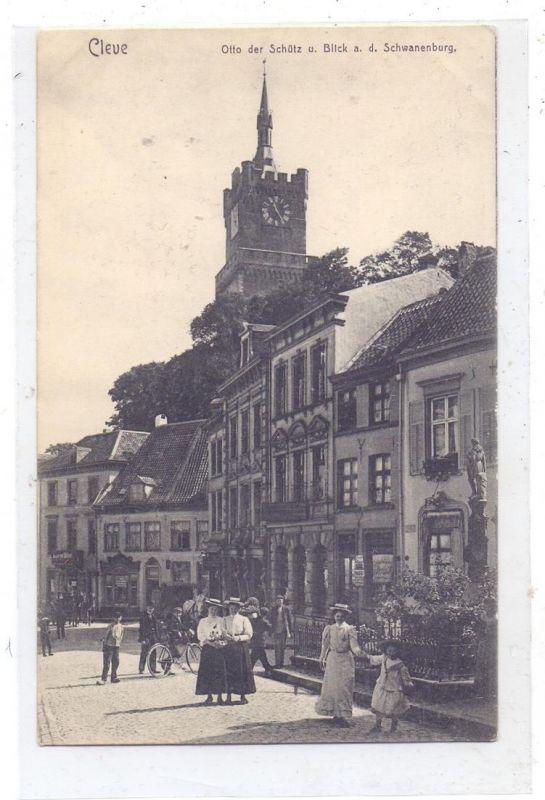 4190 KLEVE, Otto der Schütz  & Schwanenburg, belebte Szene, rücks. Klebereste und dünne Stelle 0