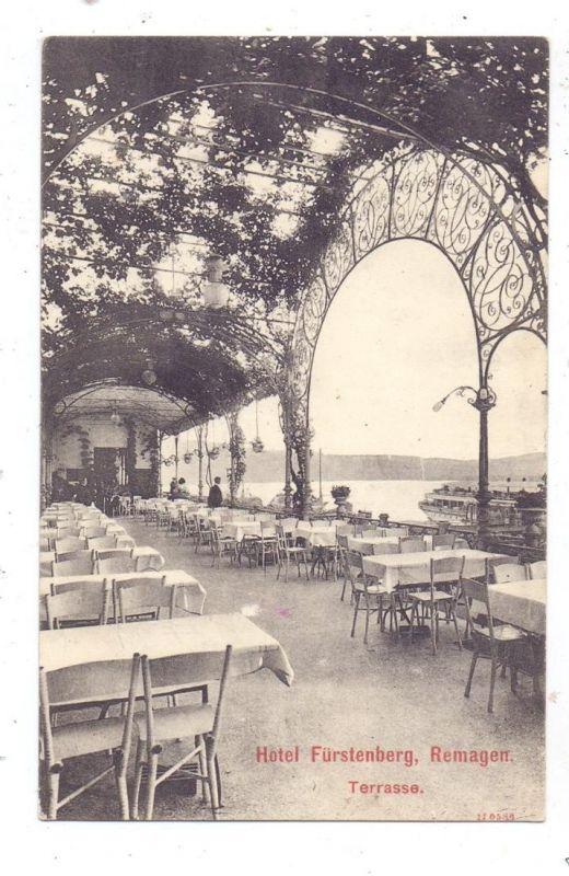 5480 REMAGEN , Hotel Fürstenberg / Caracciola, Werbe-Karte 1908 0