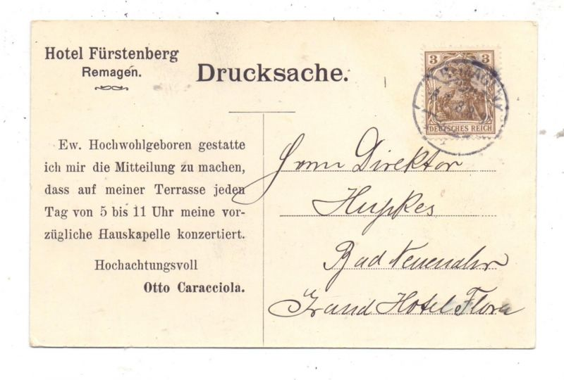 5480 REMAGEN , Hotel Fürstenberg / Caracciola, Werbe-Karte 1908 1