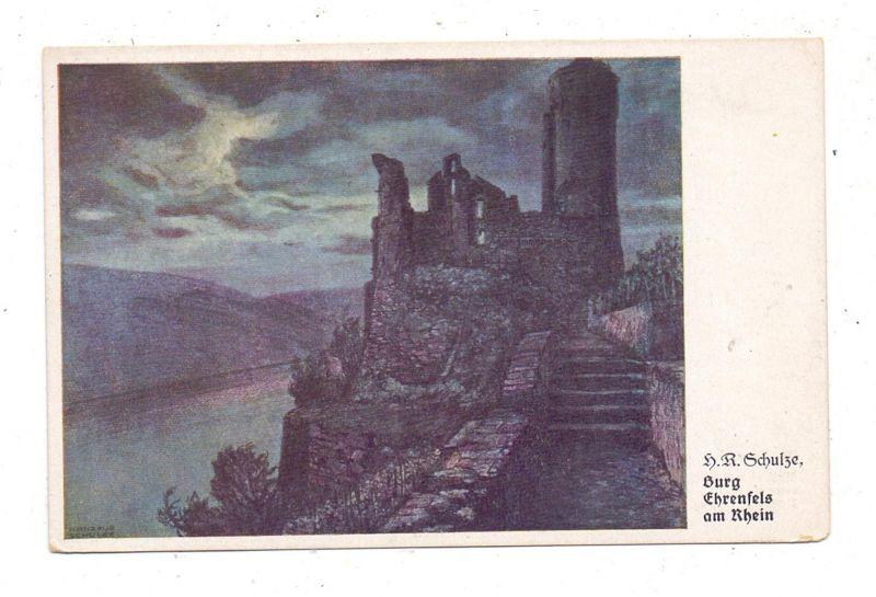 6220 RÜDESHEIM, Burg Ehrenfels, Künstler-Karte H.R.Schulze 0