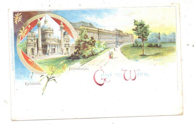 A 1000 WIEN, Lithographie, Karlskirche & Polytechnikum, ca. 1900 0