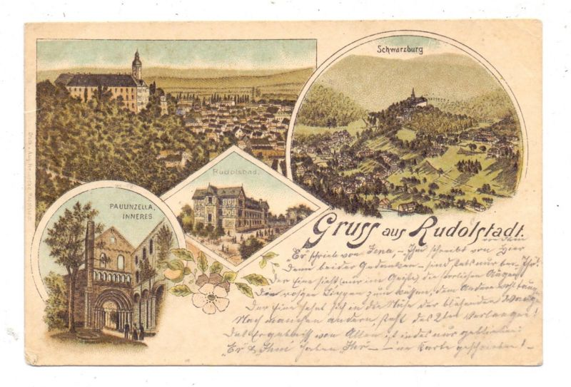 0-6820 RUDOLSTADT, Lithographie 1898, 4 Ansichten 0
