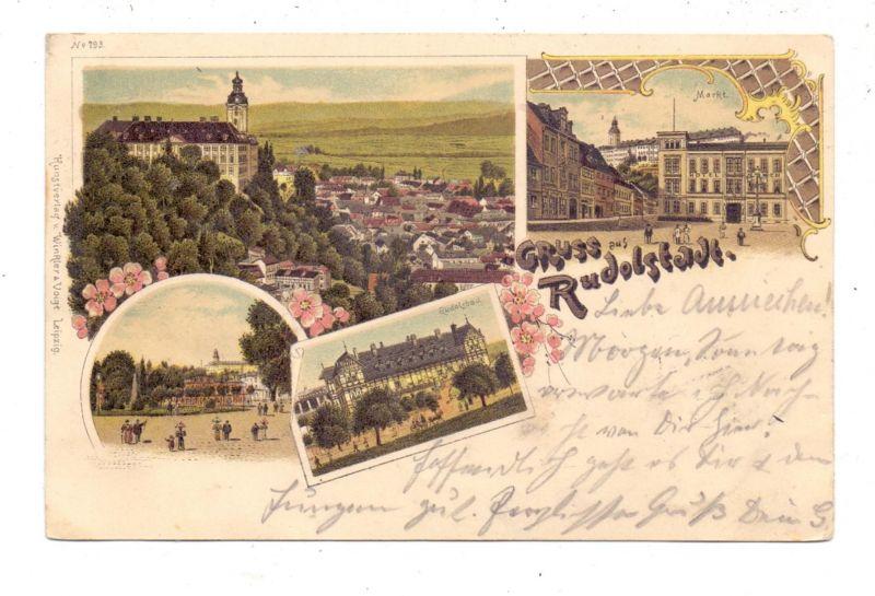 0-6820 RUDOLSTADT, Lithographie 1898, 4 Ansichten, Bahnpost