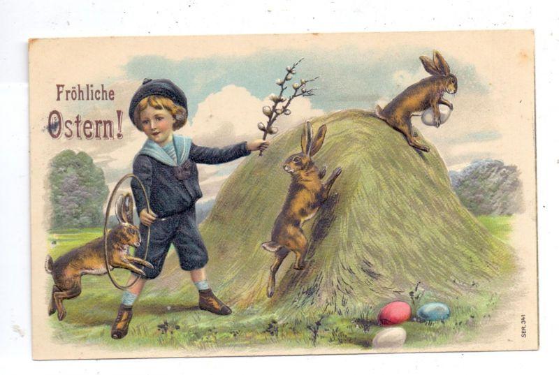 OSTERN - Junge mit Hasen, Präge-Karte / embossed / relief, 1909 0