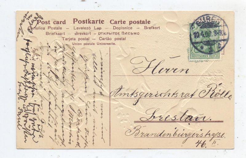 OSTERN - Junge mit Hasen, Präge-Karte / embossed / relief, 1909 1