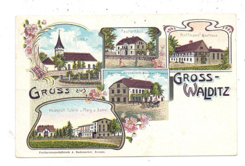 NIEDER - SCHLESIEN - GROSS-WALDITZ / WLODZICE WIELKIE, Kreis Löwenberg, Lithographie, Fabrik, Gasthaus, Gericht