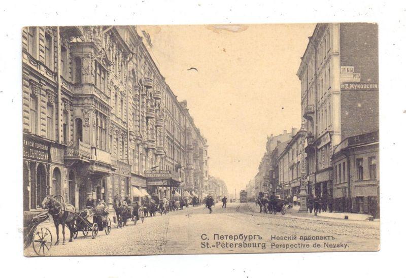 RU 190000 SANKT PETERSBURG, Newsky Prospekt, 1909, belebte Szene, Bahnpost / TPO 0