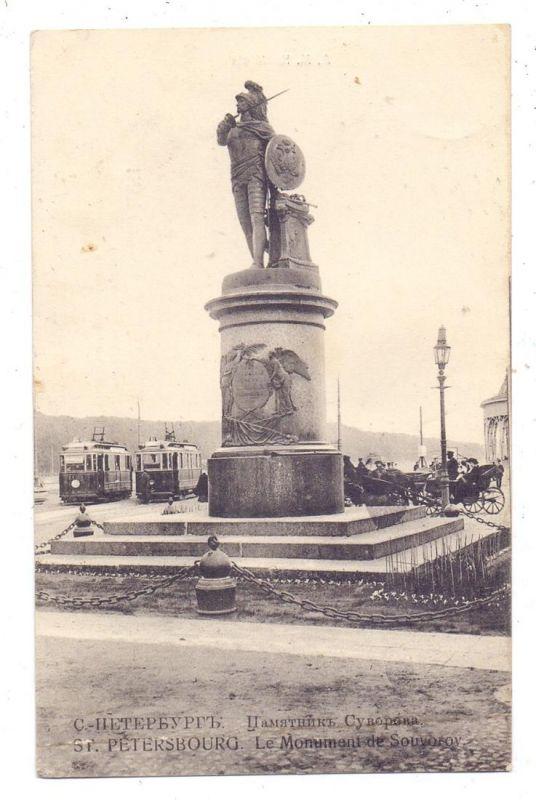 RU 190000 SANKT PETERSBURG, Denkmal von Souvorov, Strassenbahn / Tram, Kutschen / Coaches, ca. 1905