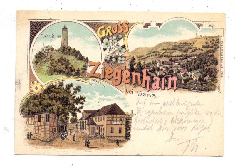 0-6900 JENA - ZIEGENHAIN, Lithographie 1899, 3 Ansichten, nach Riga befördert 0