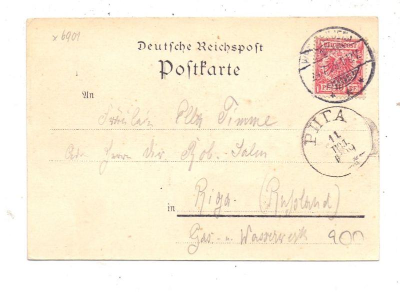 0-6900 JENA - ZIEGENHAIN, Lithographie 1899, 3 Ansichten, nach Riga befördert 1