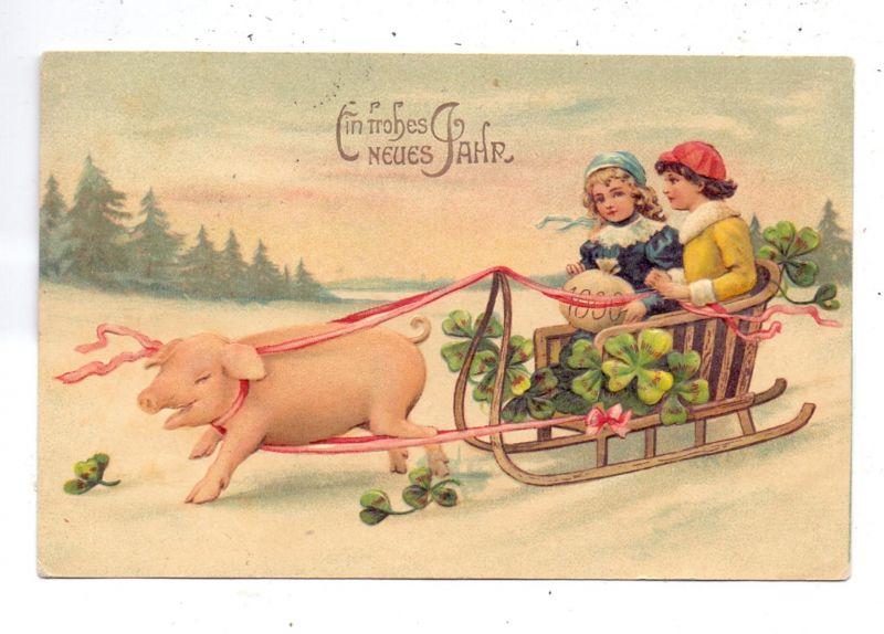 SCHWEINE / Pigs / Porcs  / Varkens / Maiali / Cerdos, Glücks-Schwein vor Schlitten, Präge-Karte / embossed / relief,1911