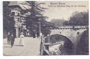 I 39012 MERAN, Kurort, Partie am Steinernen Steg mit der Zenoburg